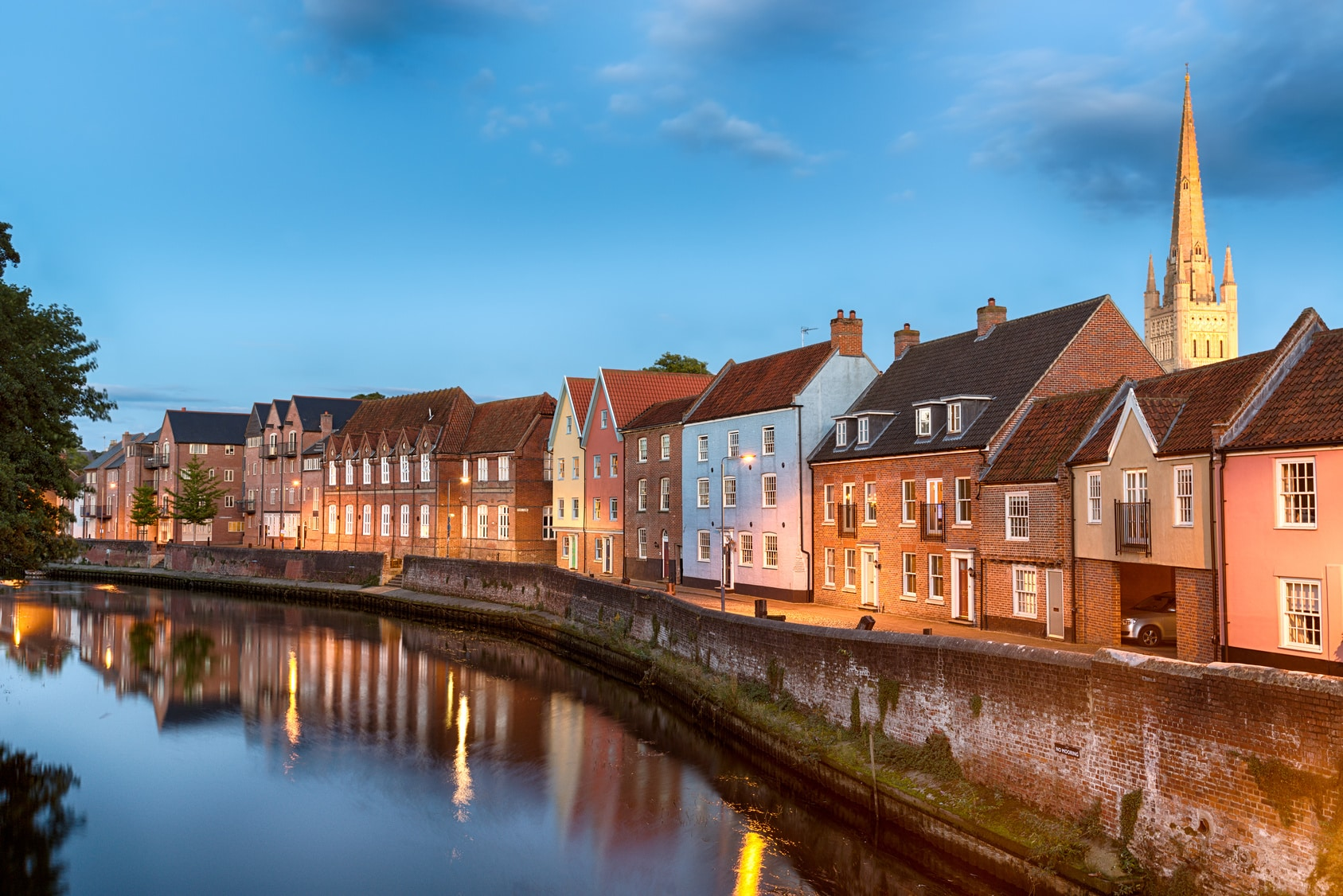 Norwich Student Accommodation - Historic town houses at night , Norwich